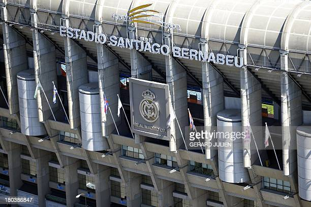 Aerial view of Real Madrid's Santiago Bernabeu Stadium from the top of the Europa Tower in Madrid on September 12 2013 AFP PHOTO / GERARD JULIEN