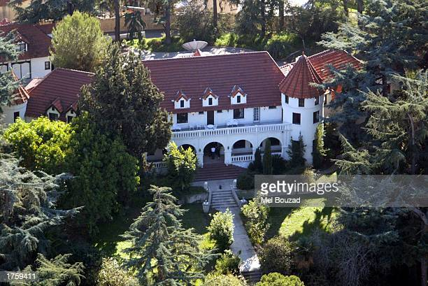 Aerial view of record producer Phil Spector's hill top mansion Pyrenes Castle taken February 3 2003 in Alhambra California Spector was arrested...