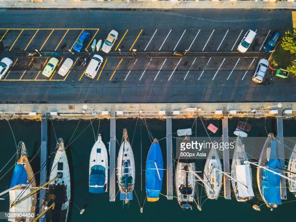 aerial view of recreational boats in marina, state of hawaii, usa - state stock pictures, royalty-free photos & images