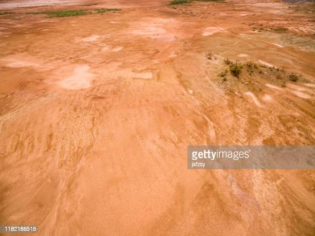 aerial view red mud desert from