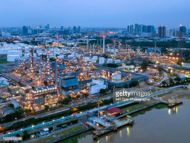 aerial view of refinery oil and petrochemical plant, industry and concept factory - qatar stock photos and pictures