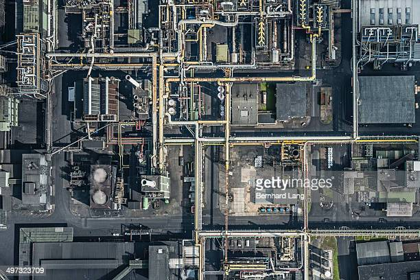 Aerial view of refinery place