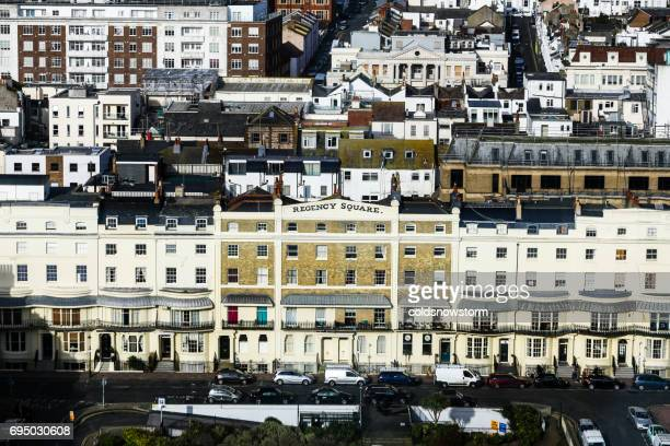 aerial view of regency square and architecture of brighton, uk - regency style stock photos and pictures