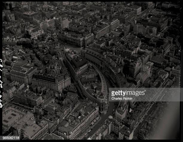 Aerial view of regent street Graceful curving buildings house shops and offices edging Regent Street circa 1950 London England UK