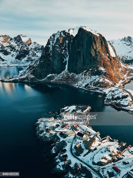 aerial view of reine in norway - lofoten stock pictures, royalty-free photos & images