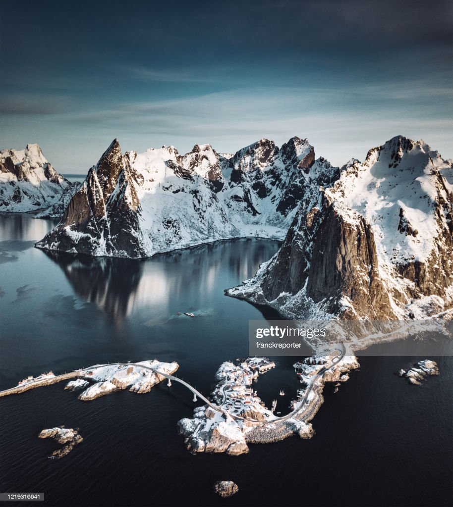 aerial view of Reine landscape in Norway : Stock Photo
