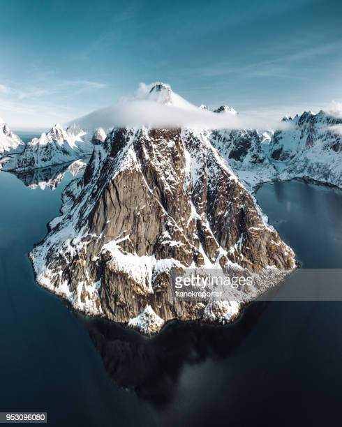 aerial view of Reine landscape in Norway