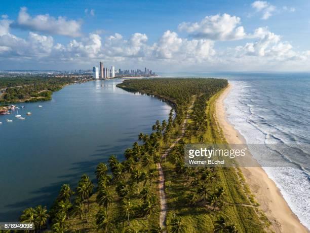 aerial view of reserva do paiva and recife - recife stock-fotos und bilder