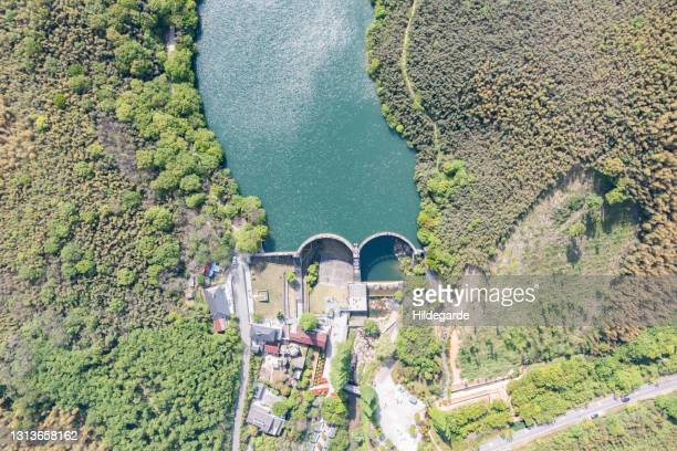 aerial view of reservoirs and dams - changzhou stock pictures, royalty-free photos & images