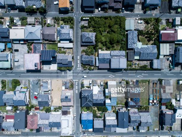 aerial view of residential area - 俯瞰 ストックフォトと画像