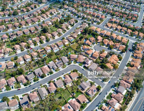aerial view of residential area,san marcos,california,united states,usa - etalement urbain photos et images de collection