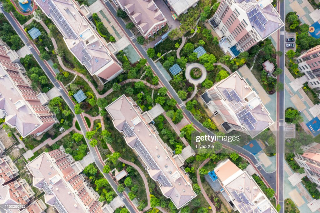 Aerial view of residential building and road : Stock Photo