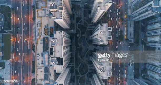 aerial view of residential building - image technique stock pictures, royalty-free photos & images