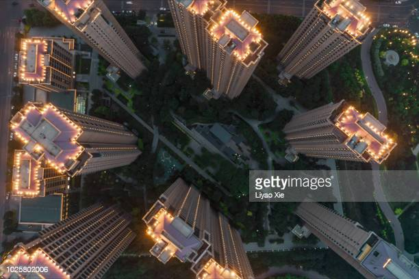 aerial view of residential building - liyao xie stock pictures, royalty-free photos & images
