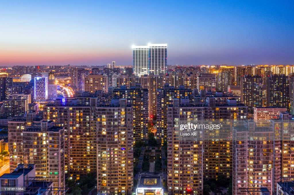Aerial view of residential building : Stock Photo