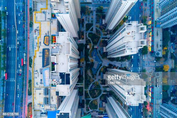 aerial view of residential building - beijing province stock photos and pictures