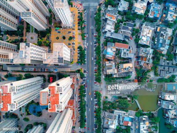 aerial view of residential building - contrasts stock pictures, royalty-free photos & images