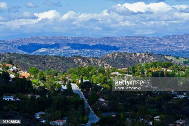 Aerial view of residential district, Los Angeles, California, USA