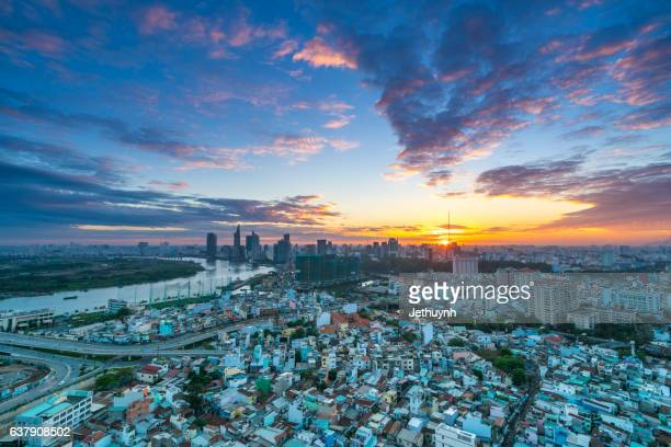 aerial view of residential district of ho chi minh city thu thiem at beautiful sunset - thiem stock pictures, royalty-free photos & images