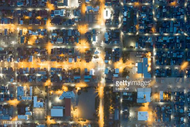 aerial view of residential district - 町 ストックフォトと画像