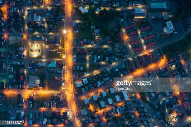 aerial view of residential district - liyao xie stock pictures, royalty-free photos & images