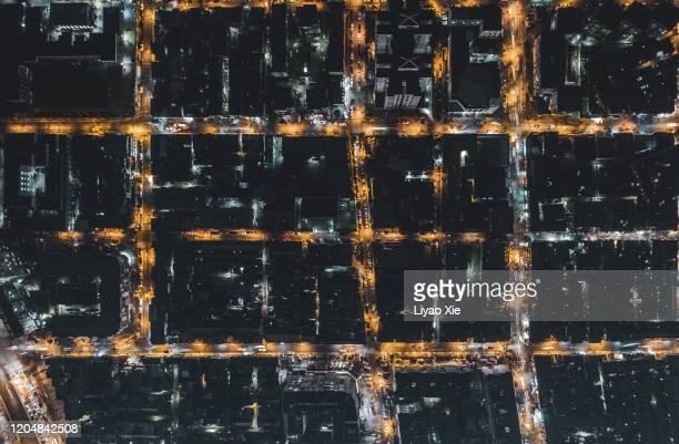 aerial view of residential district - liyao xie fotografías e imágenes de stock
