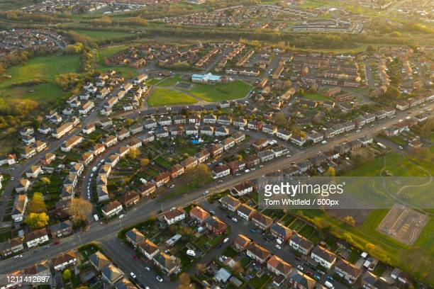 aerial view of residential district, stockton-on-tees, england - stockton on tees stock pictures, royalty-free photos & images