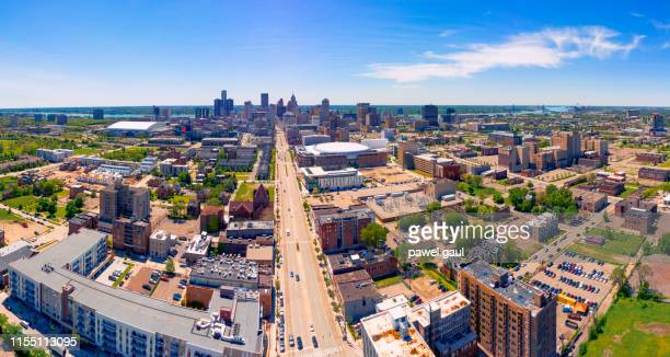 aerial view of residential district with woodward avenue in detroit michigan - detroit michigan stock pictures, royalty-free photos & images