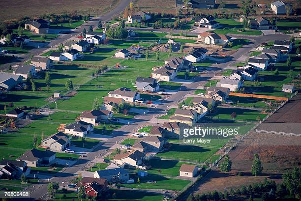 aerial view of residential neighborhood, billings, montana - billings montana stock pictures, royalty-free photos & images