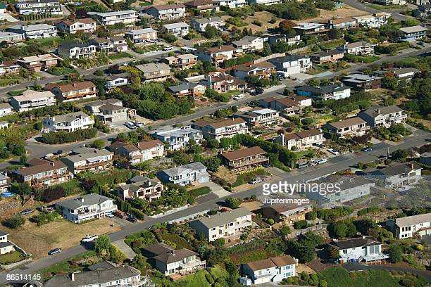 aerial view of residential neighborhood, tacoma, washington - tacoma stock pictures, royalty-free photos & images