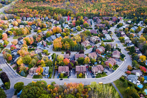 Aerial View of Residential Neighbourhood in Autumn Season in Montreal, Quebec, Canada 1091922462