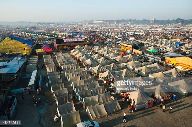 aerial view of residential tents at maha kumbh, allahabad, uttar pradesh, india - kumbh mela stock pictures, royalty-free photos & images