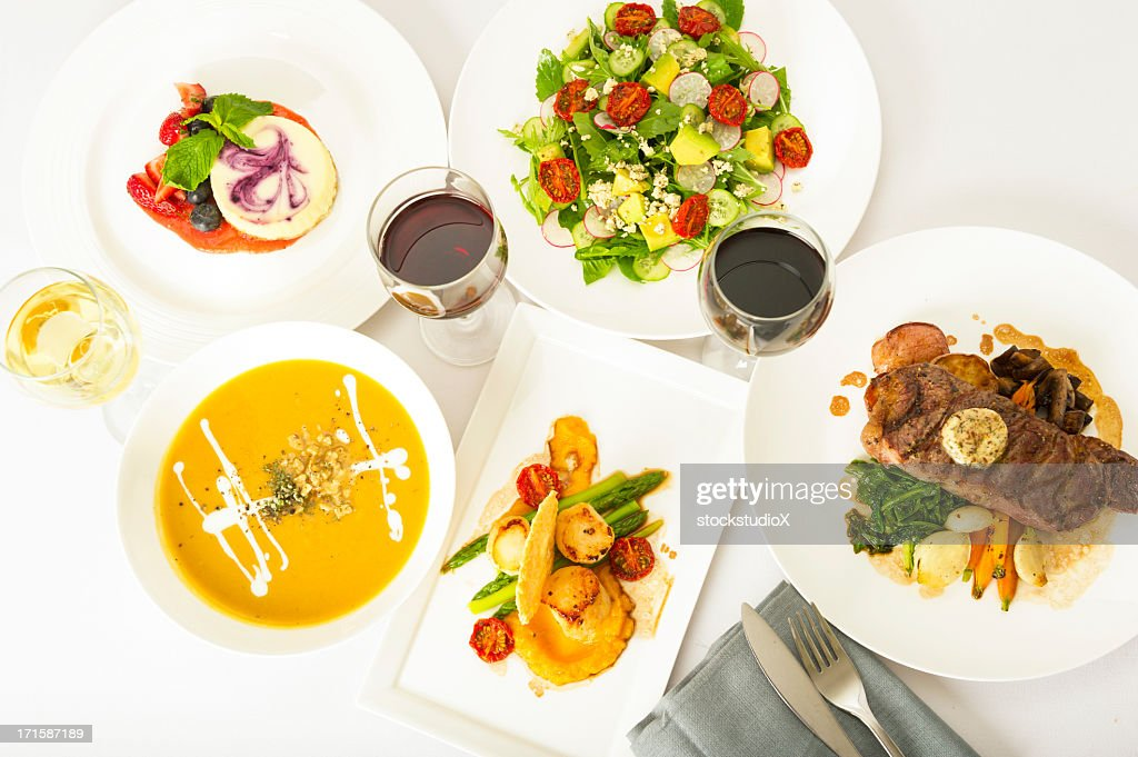 Aerial view of restaurant style food : Stock Photo