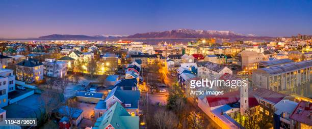 aerial view of reykjavik at twilight, iceland - iceland stock pictures, royalty-free photos & images