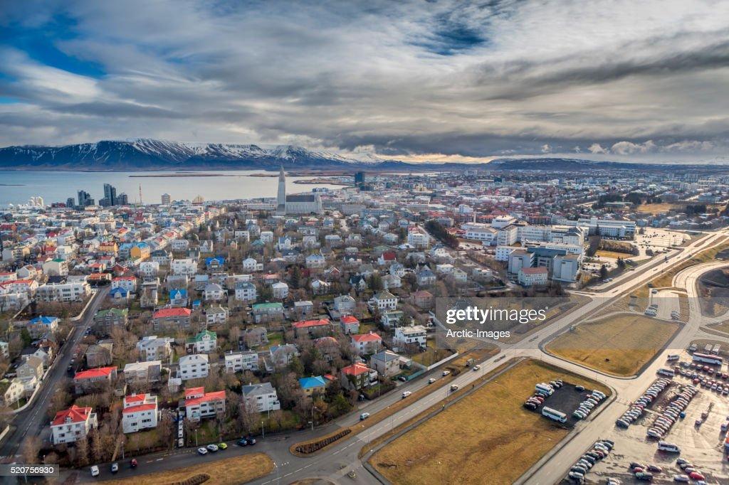 Aerial view of Reykjavik, Iceland : Stock Photo