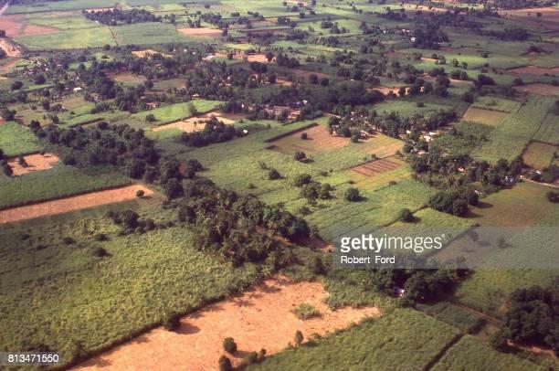 vista aérea de ricos suelos aluviales y campos de caña de azúcar a lo largo del río artibonite al este de saint-marc haití caribe - paisajes de haiti fotografías e imágenes de stock