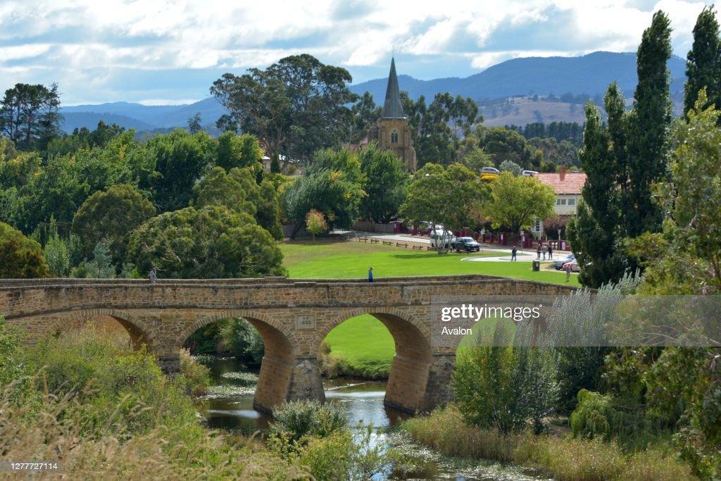 Aerial view of Richmond Town Tasmania Australia. : News Photo