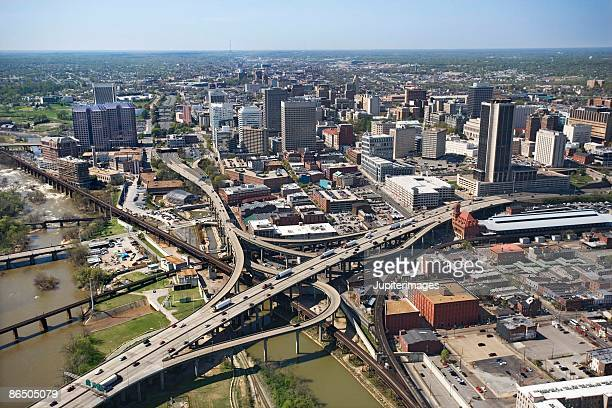 aerial view of richmond, virginia - richmond virginia stock pictures, royalty-free photos & images