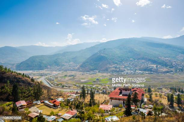 aerial view of rinpung dzong monastery, bhutan springtime - paro stock pictures, royalty-free photos & images