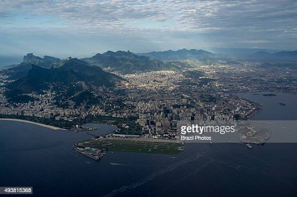 Aerial view of Rio de Janeiro downtown and mountains Santos Dumont airport and Guanabara bay in foreground