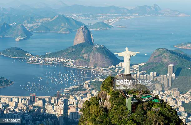 aerial view of rio de janeiro landmarks - corcovado stock pictures, royalty-free photos & images