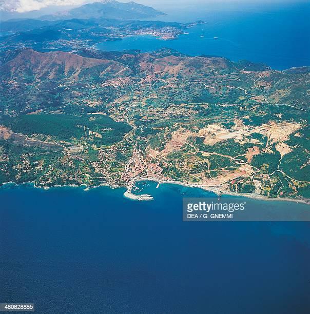 Aerial view of Rio Marina on island Isola d'Elba Tuscan Archipelago National Park Tuscany Region Italy