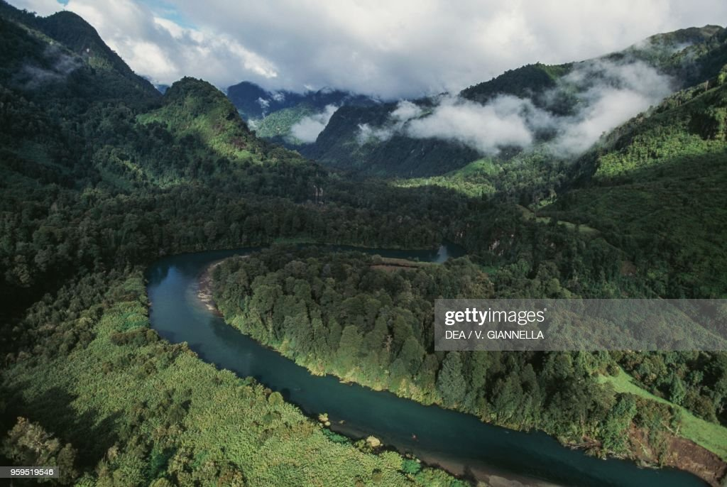 Aerial view of Rio Negro in temperate rainforest : News Photo