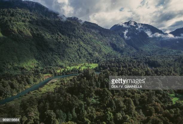 Aerial view of Rio Negro in the temperate rainforest, Vicente Perez Rosales National Park, Los Lagos Region, Chile.