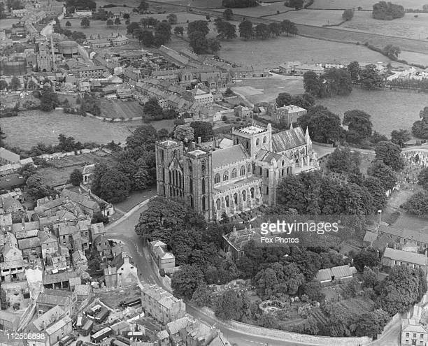 Aerial view of Ripon Cathedral Yorkshire circa 1965