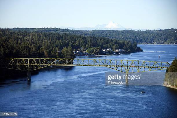 Aerial view of river and bridge
