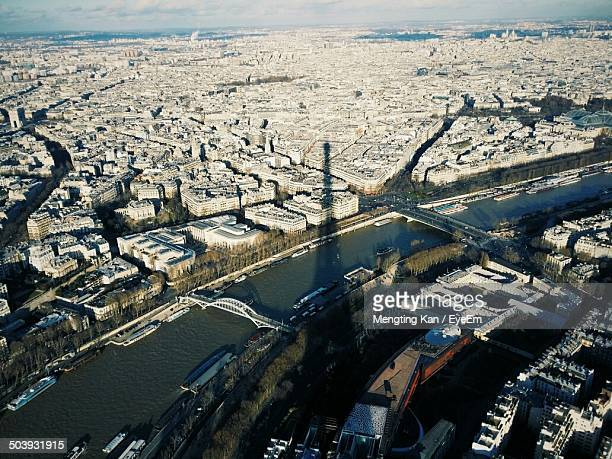 Aerial view of river and cityscape