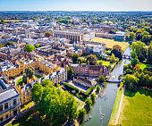Aerial view of river Cam in Cambridge, United Kingdom