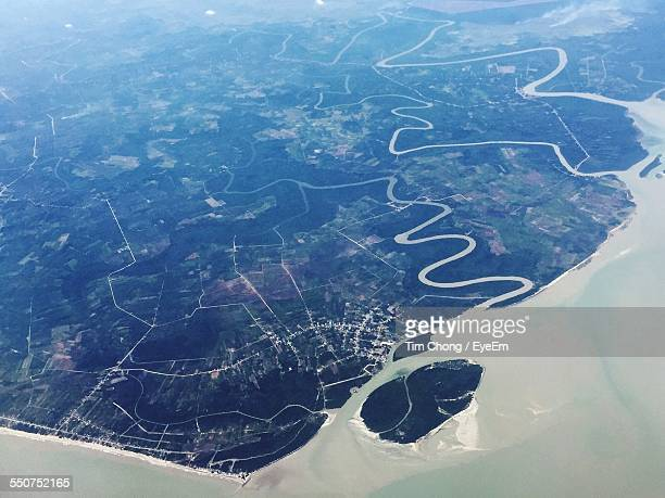 Aerial View Of River Delta And Landscape