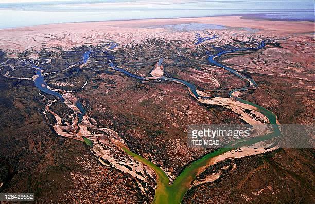 aerial view of river delta at lake eyre, sa, australia
